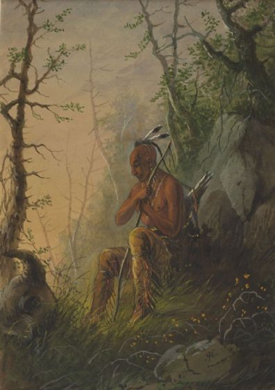 Miller, Alfred Jacob: Sioux Indian at a Grave. Fine Art Print/Poster. Sizes: A4/A3/A2/A1 (003856)